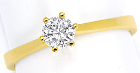 Foto 2, Brillant Goldring 0,38ct Solitaer Billiant 18K Gelbgold, R5683