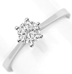 Foto 1, Brilliant-Ring 0,47ct Top Wesselton F Lupenrein HRD 18K, R5687