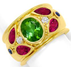 Foto 1, Cartier Ring Nieva Green Tourmaline Brillanten Gelbgold, R5707