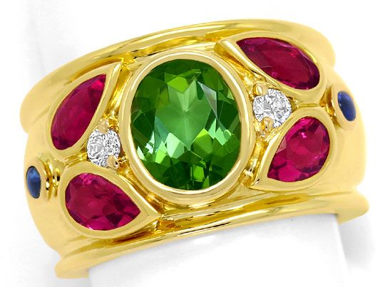 Foto 2, Cartier Ring Nieva Green Tourmaline Brillanten Gelbgold, R5707