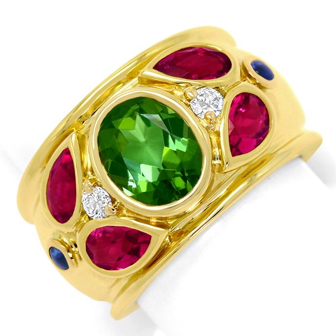 Cartier Ring Nieva Green Tourmaline Brillanten Gelbgold, Edelstein Farbstein Ring