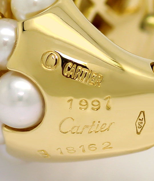 Foto 5, Original Cartier Ohrringe Andromaque Perlen Brillianten, R5709