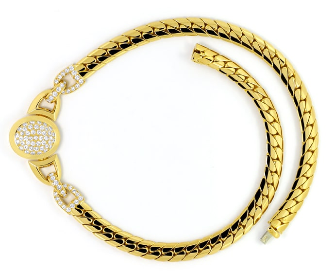 Foto 1, Original Cartier Collier Charleston Brillanten Gelbgold, R5736