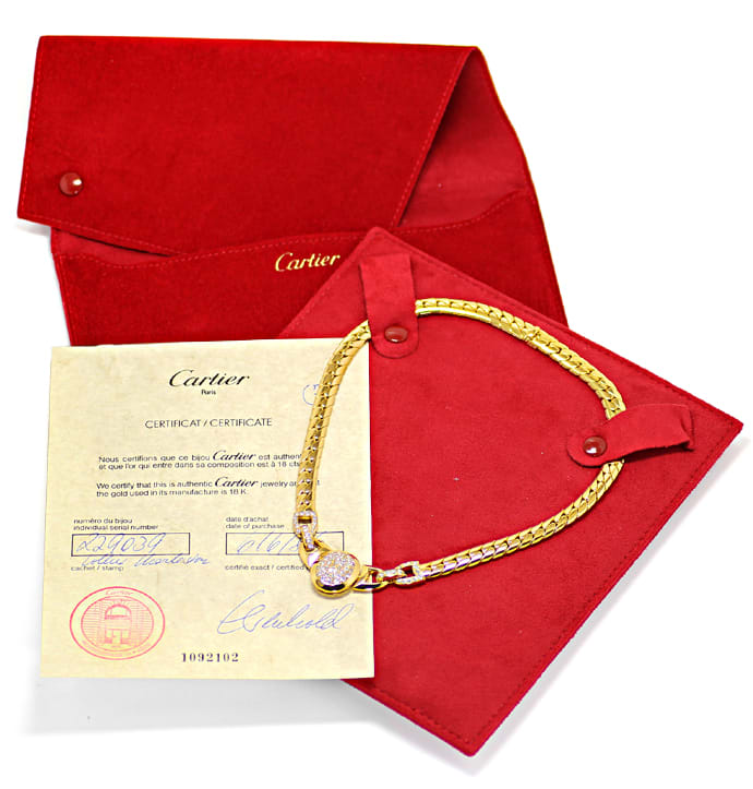 Foto 6, Original Cartier Collier Charleston Brillanten Gelbgold, R5736