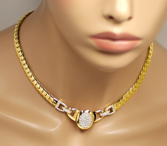 Foto 8, Original Cartier Collier Charleston Brillanten Gelbgold, R5736