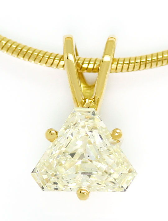Foto 2, Cut Corner Triangle Diamant 0,588ct in Kollier Gelbgold, R5740
