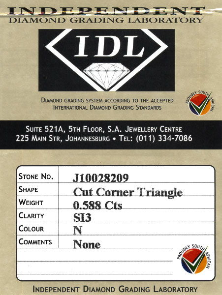 Foto 8, Cut Corner Triangle Diamant 0,588ct in Kollier Gelbgold, R5740