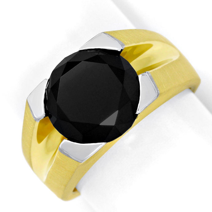 Riesiger 5,52ct Brillant Schwarz in massivem Herrenring, Designer Ring