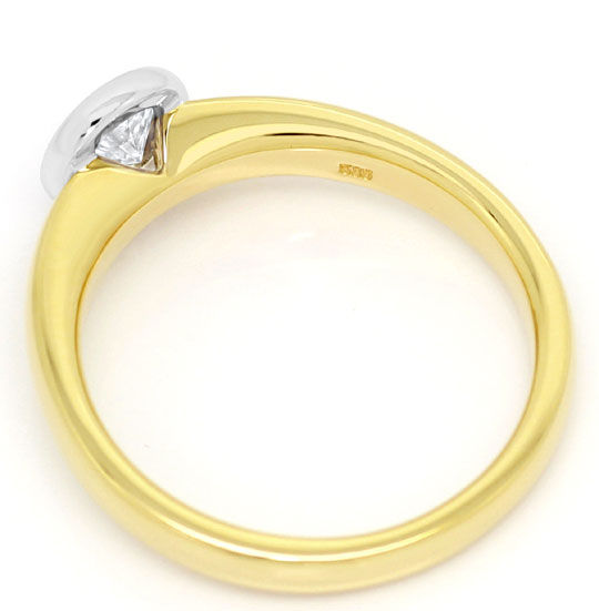 Foto 3, Diamant Ring Brilliant Solitär River Gelbgold Weissgold, R5863