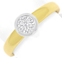 Foto 1 - Diamant Ring Brillant Solitär 0,43ct Gelbgold Weissgold, R5864