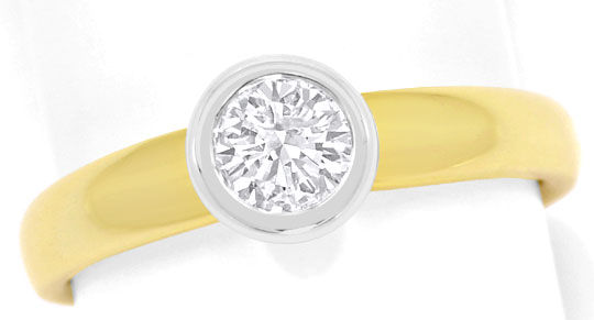 Foto 2, Diamant Ring Brillant Solitär 0,43ct Gelbgold Weissgold, R5864