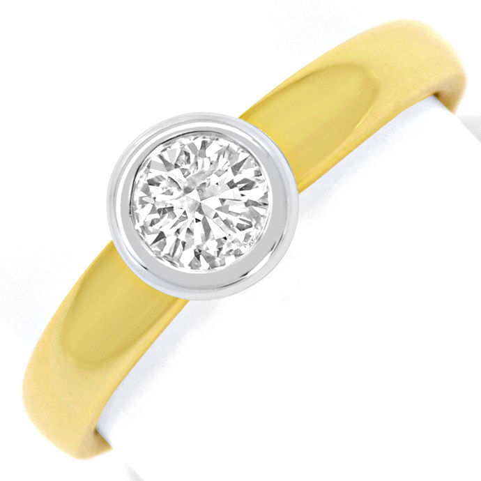 Diamant Ring Brillant Solitär 0,43ct Gelbgold Weissgold, Designer Ring