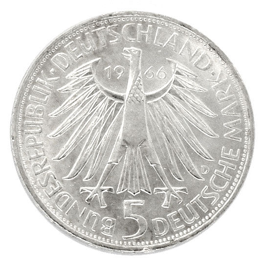 Foto 2 - 5 Deutsche Mark Muenze, Gottfried Wilhelm Leibniz, 1966, R5869