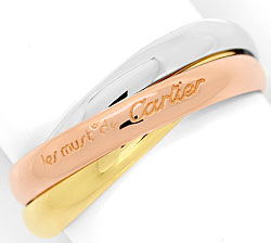 Foto 1, Original Les Must.de Cartier Trinity Ring, Tricolor 18K, R5883