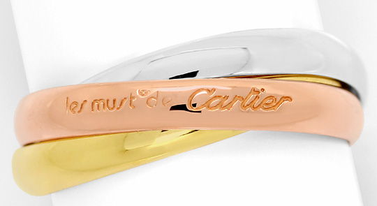 Foto 2, Original Les Must.de Cartier Trinity Ring, Tricolor 18K, R5883
