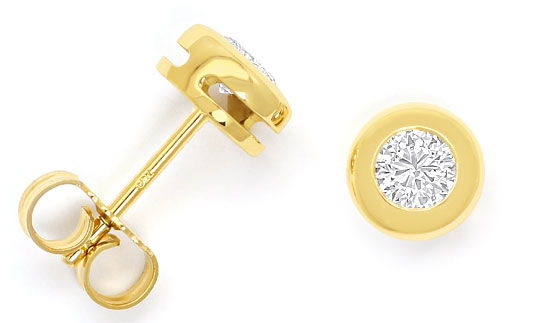Foto 1, Zargen Diamantohrstecker 0,48ct Brillanten 18K Gelbgold, R6005