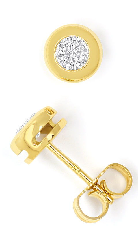 Foto 2, Zargen Diamantohrstecker 0,48ct Brillanten 18K Gelbgold, R6005
