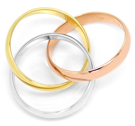 Foto 4, Original Les Must.de Cartier Gold-Ring Trinity Tricolor, R6045