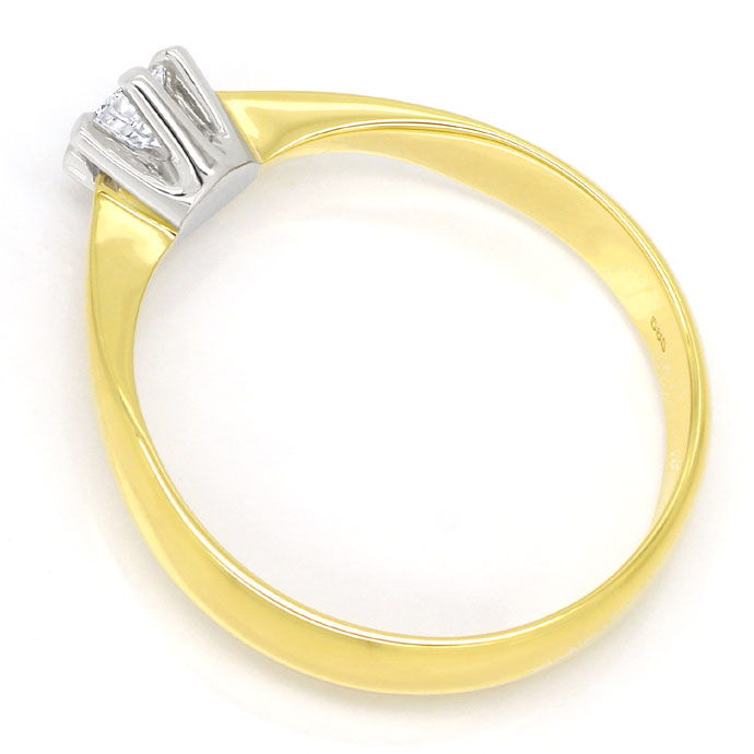 Foto 3, Solitär Ring mit 0,23ct River Brillant 14K Bicolor Gold, R6093
