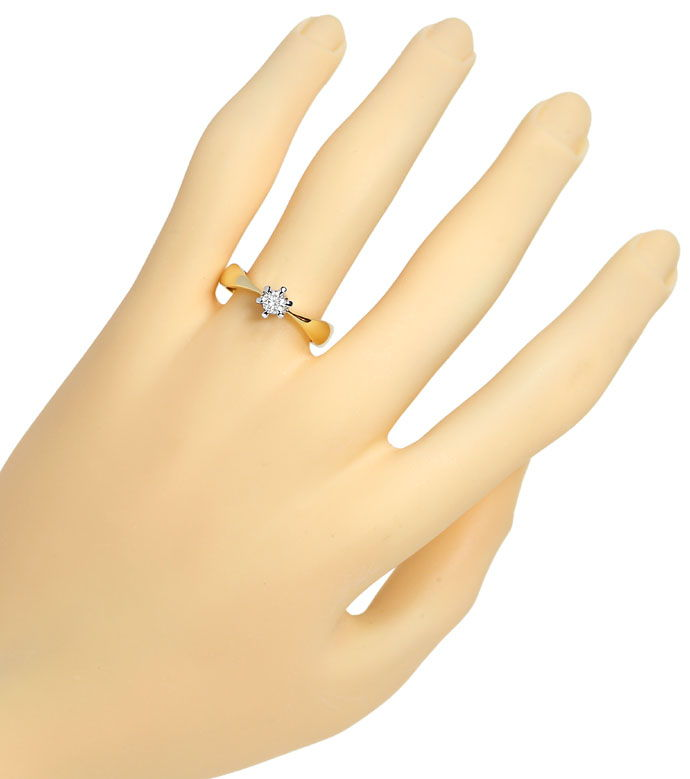 Foto 4, Solitär Ring mit 0,23ct River Brillant 14K Bicolor Gold, R6093