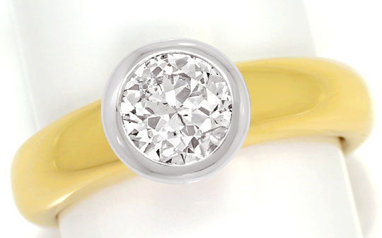 Foto 2, Brillant Solitär Ring 1,15 ct massiv Gelbgold Weissgold, R6198