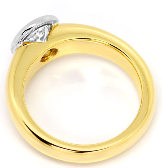 Foto 3, Brillant Solitär Ring 1,15 ct massiv Gelbgold Weissgold, R6198