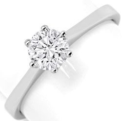 Foto 1, Brillant-Krappen-Solitaer-Ring 0,63ct Top Wesselton 18K, R6372