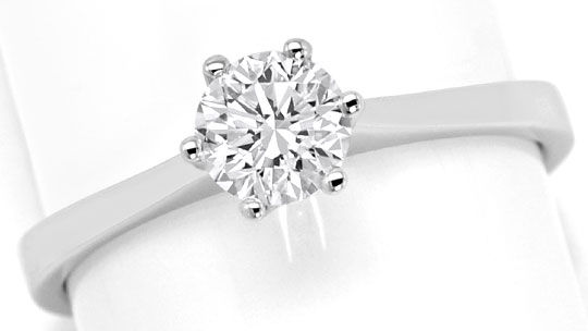 Foto 2, Brillant-Krappen-Solitaer-Ring 0,63ct Top Wesselton 18K, R6372