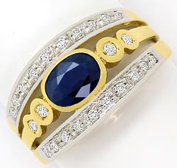 Foto 1, Ring mit 0,83ct Blauem Safir 0,19ct Brillanten 14K Gold, R6432