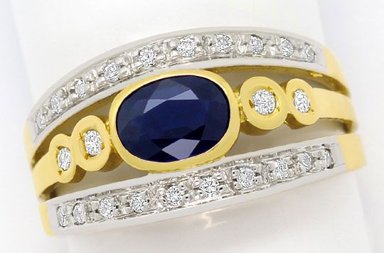 Foto 2, Ring mit 0,83ct Blauem Safir 0,19ct Brillanten 14K Gold, R6432