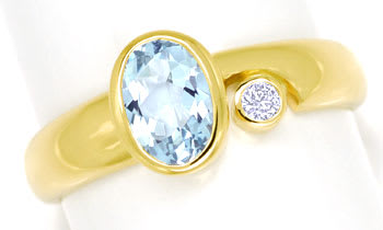 Foto 1 - Bezaubernder Aquamarin Ring mit 0,03ct Diamant 14K Gold, R6486