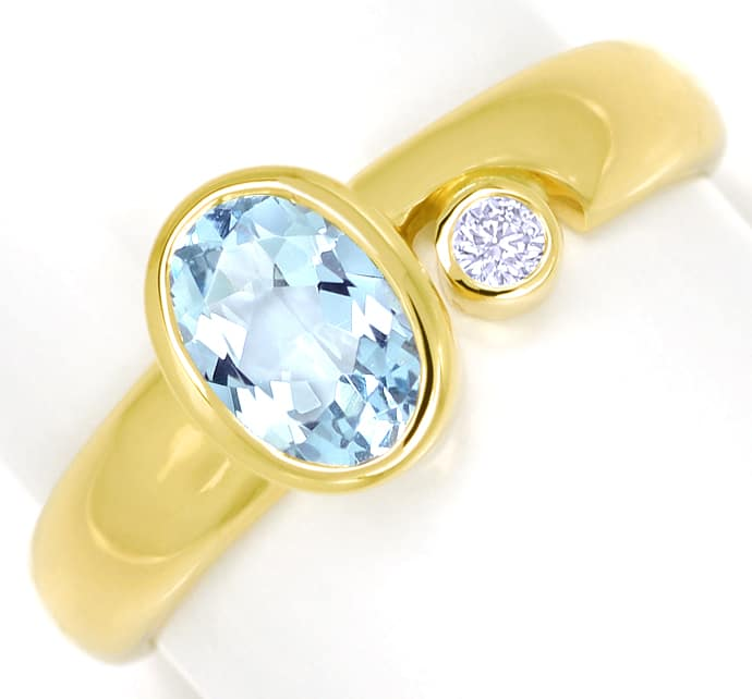 Foto 2 - Bezaubernder Aquamarin Ring mit 0,03ct Diamant 14K Gold, R6486