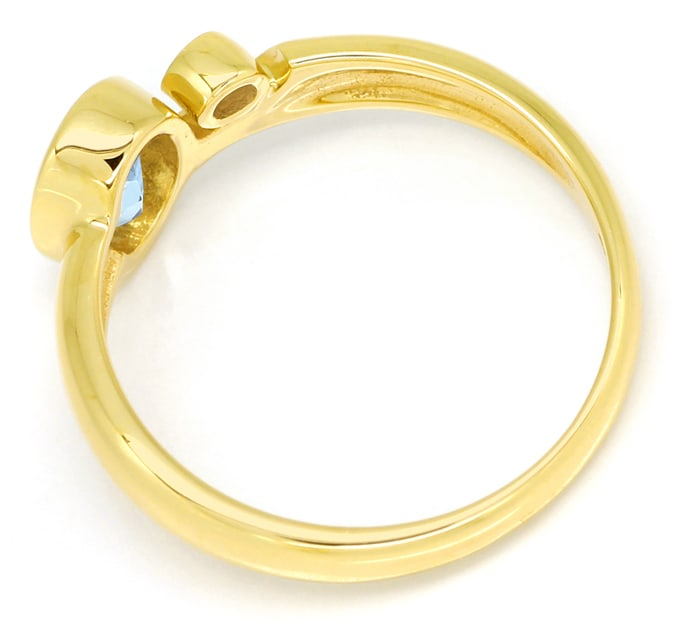 Foto 3 - Bezaubernder Aquamarin Ring mit 0,03ct Diamant 14K Gold, R6486