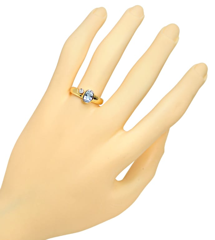 Foto 4 - Bezaubernder Aquamarin Ring mit 0,03ct Diamant 14K Gold, R6486