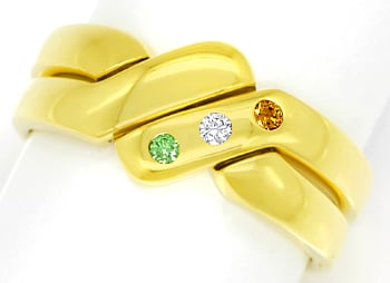 Foto 1 - Brillanten Ring River Vivid Orange Intense Green Colour, R6492
