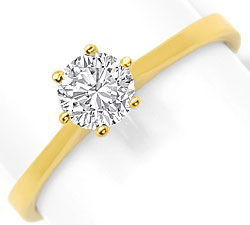 Foto 1, Diamant-Krappen-Ring 0,54ct Solitaer-Brilliant Gelbgold, R6512