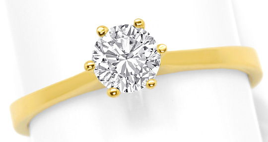 Foto 2, Diamant-Krappen-Ring 0,54ct Solitaer-Brilliant Gelbgold, R6512