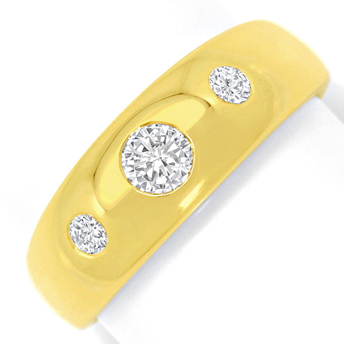 Wunderschöner massiver Gold Bandring 0,45ct Brillianten, Designer Ring