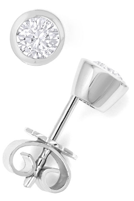 Foto 2, Brilliant-Ohrstecker 0,54ct Top Wesselton 18K Weissgold, R6669
