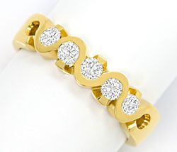 Foto 1, Halbmemory-Ring mit 0,43 ct Brillianten in 18K Gelbgold, R6819