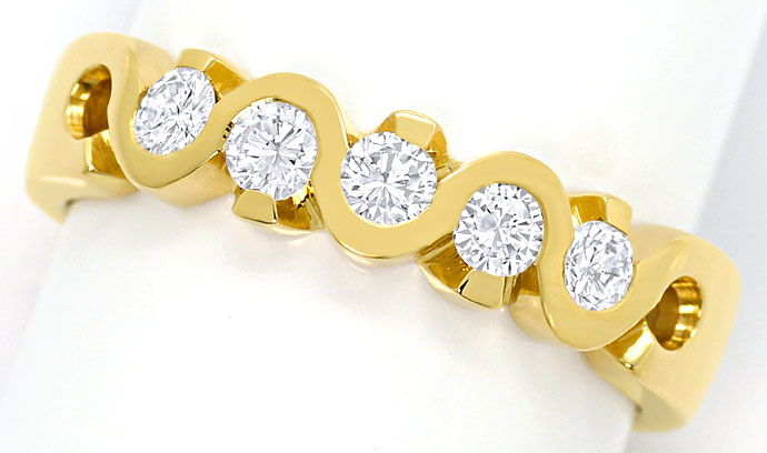 Foto 2, Halbmemory-Ring mit 0,43 ct Brillianten in 18K Gelbgold, R6819