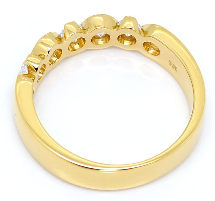 Foto 3, Halbmemory-Ring mit 0,43 ct Brillianten in 18K Gelbgold, R6819