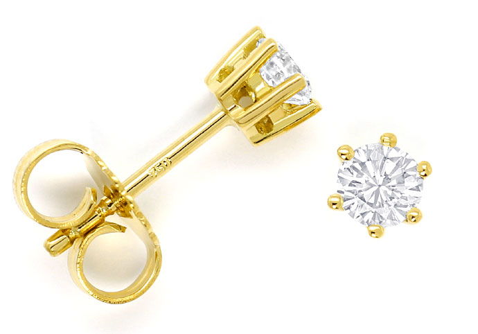 Foto 1, Diamanten Ohrstecker mit 0,40ct Brillanten 18K Gelbgold, R6820