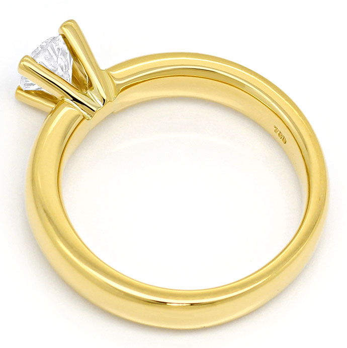 Foto 3, Brillant Solitär 0,58ct in Gelbgold Krappen Ring massiv, R6838