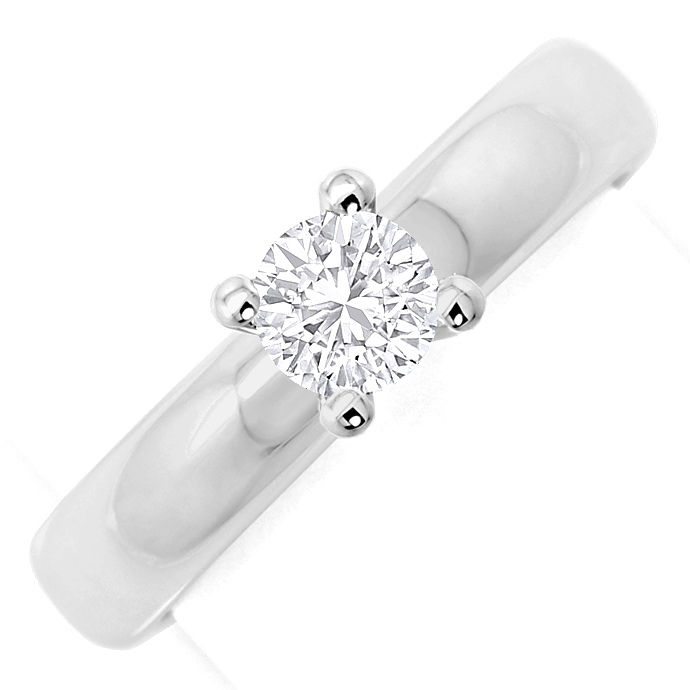 Massiver Brillant Ring mit 0,55ct Brillant Solitär, 18K, Designer Ring