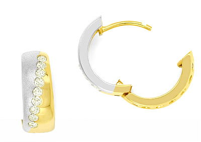 Foto 1, Gold Ohrringe Kreolen mit 0,34ct Brillanten 14K Bicolor, R6850