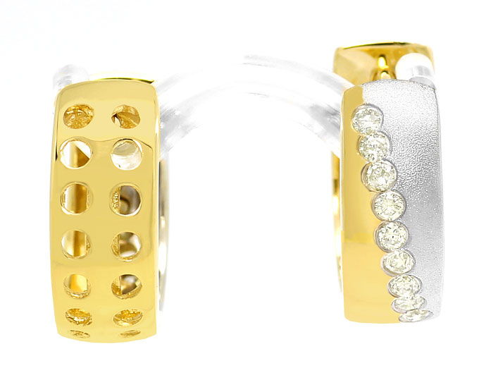 Foto 2, Gold Ohrringe Kreolen mit 0,34ct Brillanten 14K Bicolor, R6850