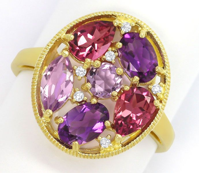 Foto 3, Gold Diamanten Ring Ohrringe Kollier, Amethyst Morganit, R6923