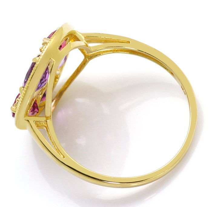 Foto 4, Gold Diamanten Ring Ohrringe Kollier, Amethyst Morganit, R6923