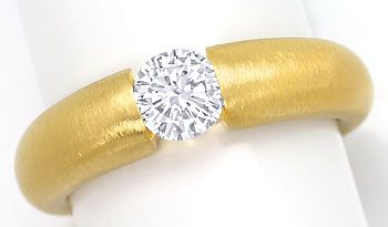 Foto 1, Massiver Spannring mit 0,56ct Brilliant in 18K Gelbgold, R7023